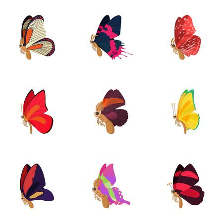 antennae: Butterfly icons set, cartoon style