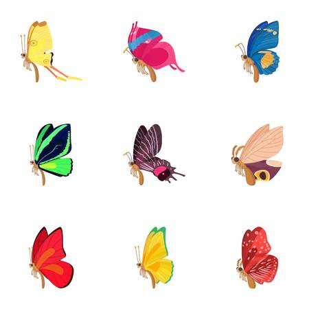 Types of butterflies icons set, cartoon style