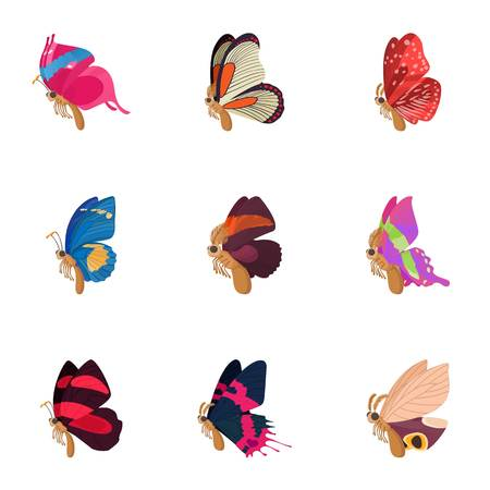 antennae: Insects butterflies icons set, cartoon style