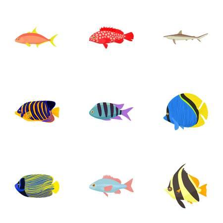 Fish icons set, cartoon style