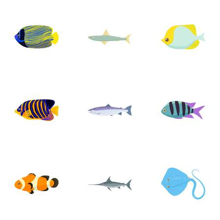 clown tang: Species of fish icons set, cartoon style Illustration