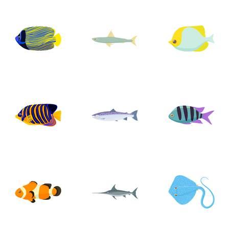 Species of fish icons set, cartoon style Illustration