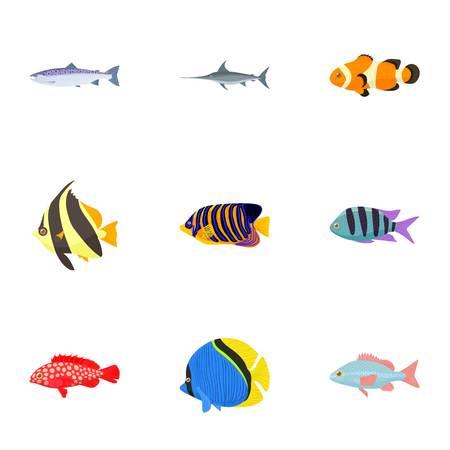 Marine fish icons set, cartoon style Illustration