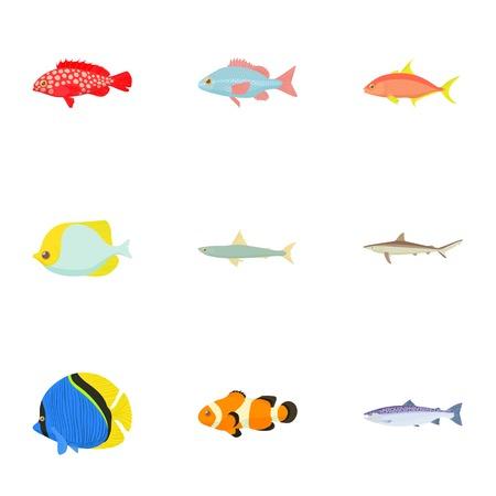 Ocean fish icons set, cartoon style