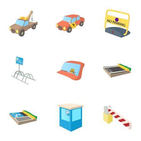 Parking area icons set, cartoon style