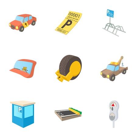 Parking station icons set, cartoon style