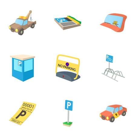valet: Valet parking icons set, cartoon style Illustration