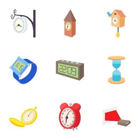Clock icons set, cartoon style