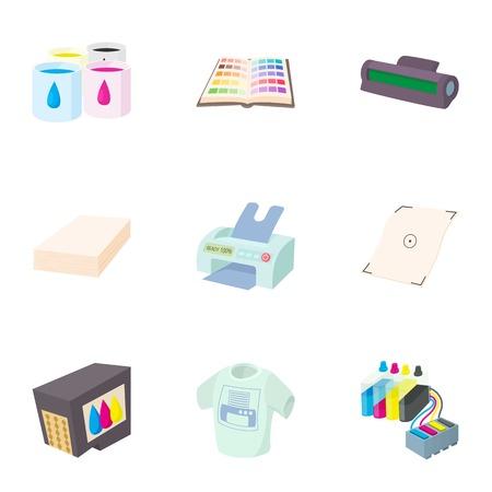 Print icons set, cartoon style