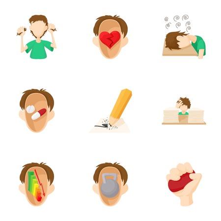 praise: Human feelings icons set, cartoon style