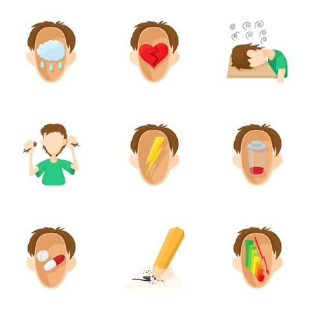 Emotions types icons set, cartoon style