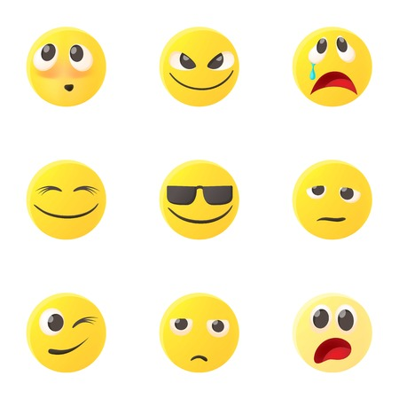 malice: Emoticons for messages icons set, cartoon style Illustration