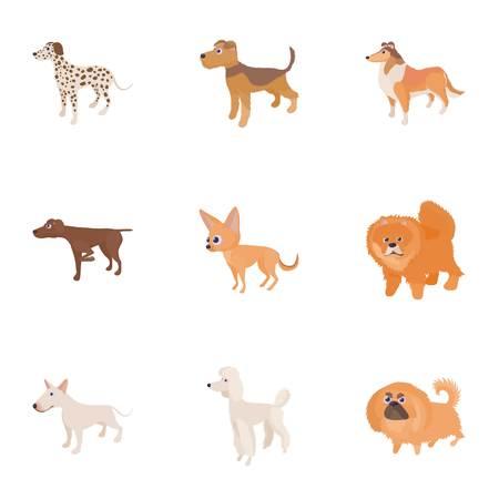 Doggy icons set, cartoon style Illustration