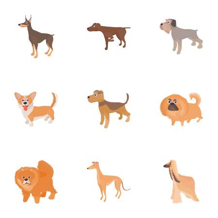 running nose: Faithful friend dog icons set, cartoon style