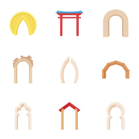 Arch icons set, cartoon style