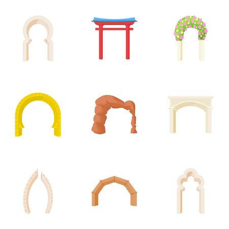 Different arches icons set, cartoon style