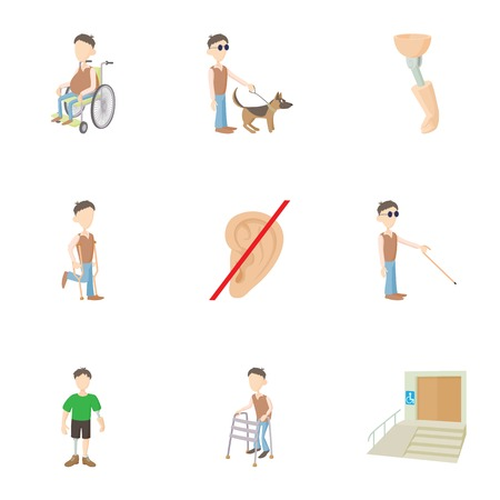 Cripple icons set, cartoon style
