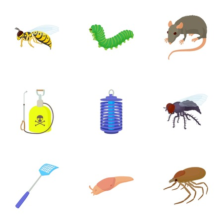 poppers: Harmful insects icons set, cartoon style