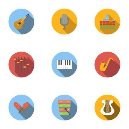 Musical instruments icons set, flat style Illustration