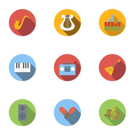 Device for music icons set, flat style Illustration