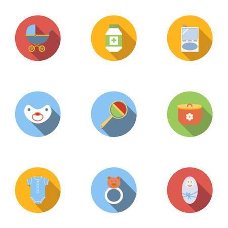 Baby icons set, flat style