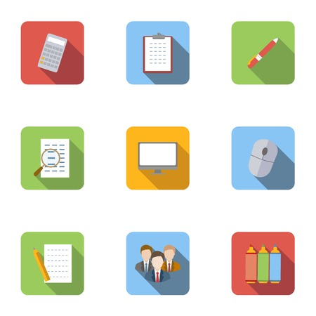 agency agreement: Staffing agency icons set, flat style