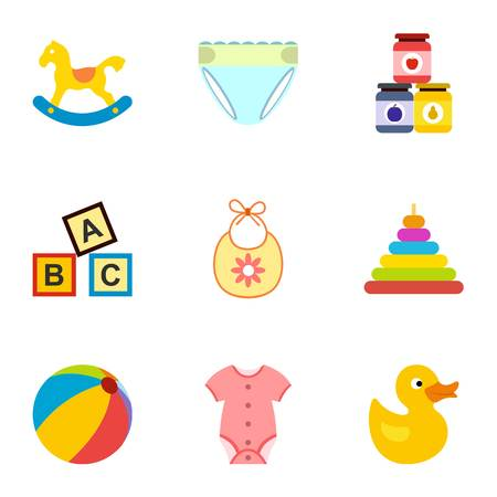 Things for baby icons set, flat style