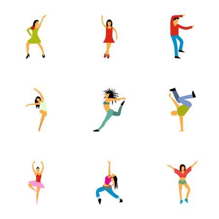 Types of dances icons set, flat style