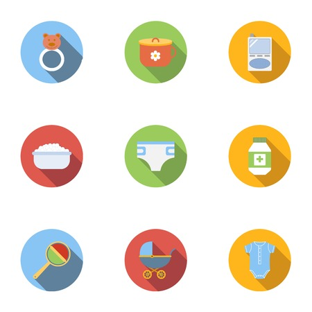 Baby supplies icons set, flat style