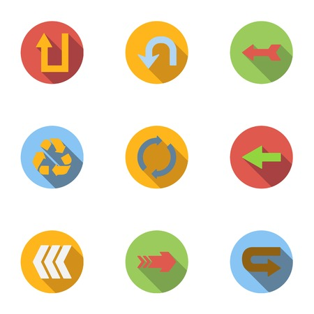 Types of arrows icons set, flat style