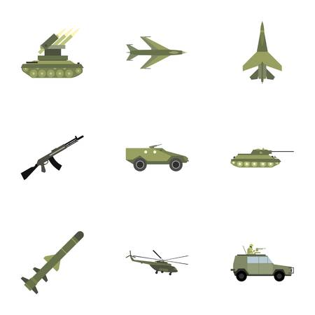 weapons: Weapons icons set, flat style Illustration