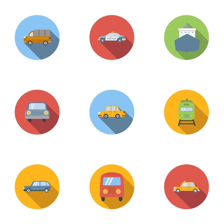 the traffic movement police: Transport icons set, flat style