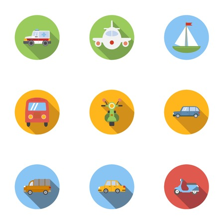 spare: Types of transport icons set, flat style