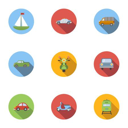 the traffic movement police: Vehicle icons set, flat style Illustration