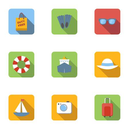 brolly: Tourism at sea icons set, flat style