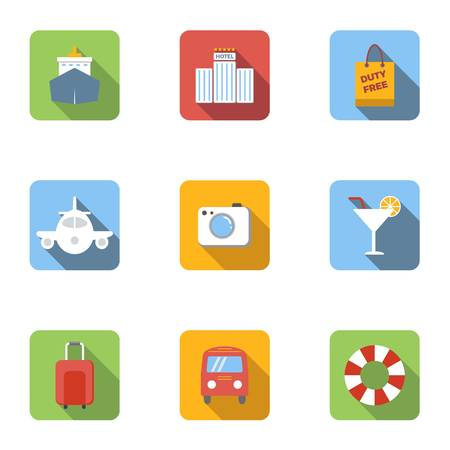 brolly: Rest on sea icons set, flat style