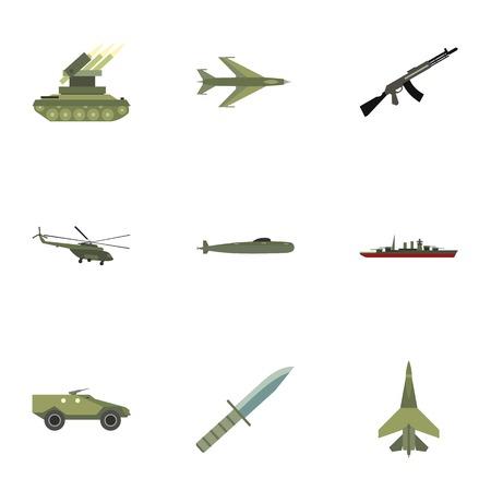 weaponry: Weaponry icons set, flat style Illustration