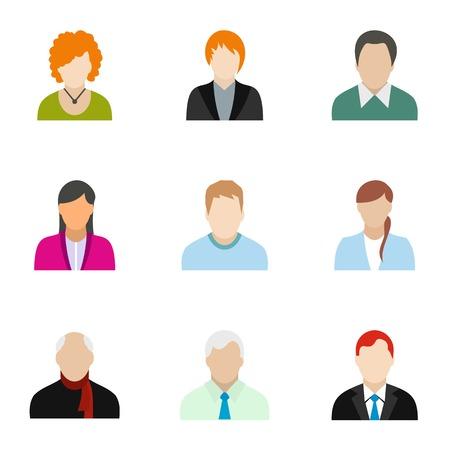 Types of avatar icons set, flat style