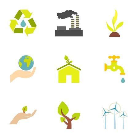 art processing: Energy icons set, flat style