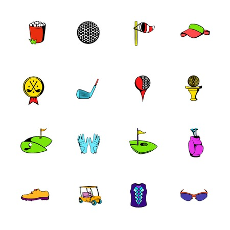 sports equipment: Golf equipment icons set cartoon