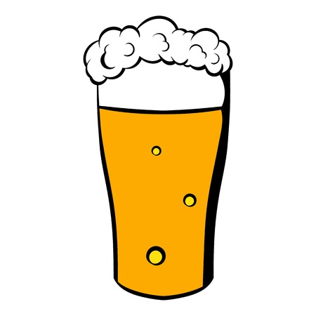 Glass of beer icon, icon cartoon