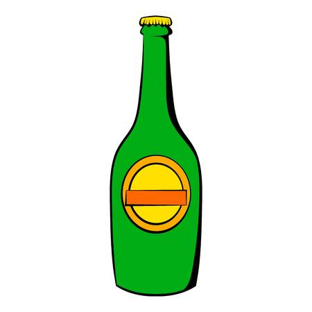 Green bottle of beer icon, icon cartoon