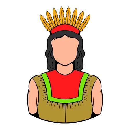 American Indian icon, icon cartoon