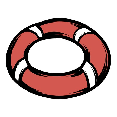 Red lifebuoy icon cartoon