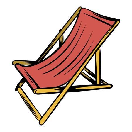 나무 해변 chaise 아이콘 만화 일러스트