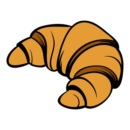 Croissant icon cartoon Illustration