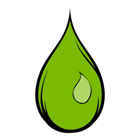 Green water drop icon cartoon