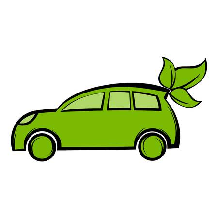 Eco car icon cartoon
