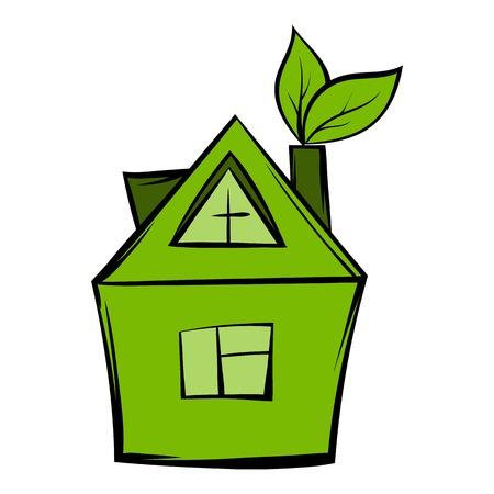 Eco house icon cartoon