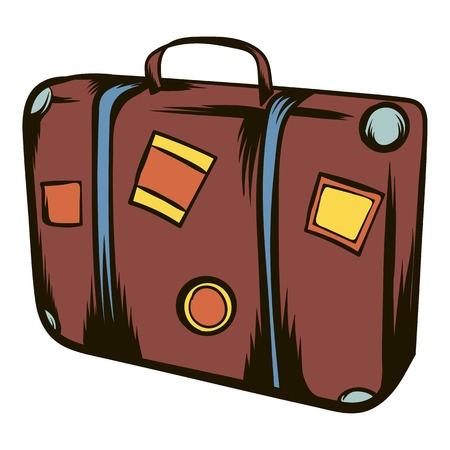 Brown travel suitcase icon cartoon